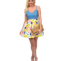 Blue & Yellow Floral Two Tone Cut Out Fit & Flare Dress
