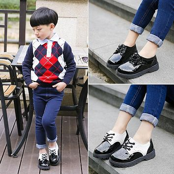2018 autumn new high quality fashion black boys school shoes girls school shoes kids wedding shoes children wedding shoes