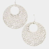 Round Flowers Cut Dangle Earring - Rhodium