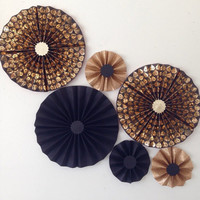 Black and Gold DIAMONDS with Glitter Party Fans | Pom Wheel | Rosettes | Paper Medallions | For Weddings, Birthdays | Paper Pinwheel