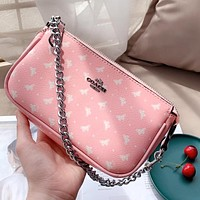 Coach Mahjong Bag Armpit Bag Classic PVC Pink Print Shoulder Bag