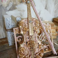 Pink and gold violin display with stand home decor art piece one of a kind by Anita Spero