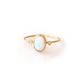 14kt Gold Opal & Diamond Marvel Ring