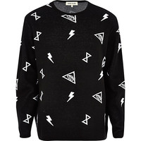River Island MensBlack and white symbol print oversized sweater