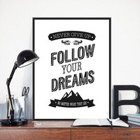 Minimalist Black White Motivational Dream Quote Poster Print Mountain Picture Canvas Painting No Frame Nordic Home Wall Art Gift