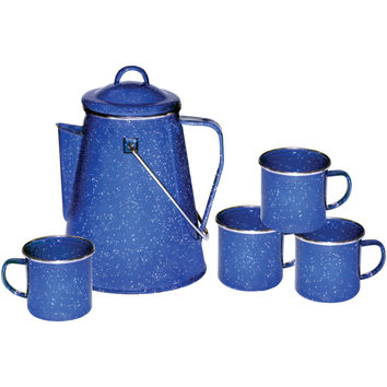 Stansport Enamel 8-cup Coffee Pot With Percolator & Four 12-ounce Mugs