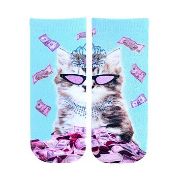 Rich Kitty Ankle Socks
