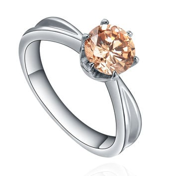 Stainless Steel Round Orange Cubic Zirconia Solitaire Ring
