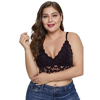 Black Chunky Crochet Lace Plus Size Bralette