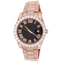 Rose Gold 40mm Presidential Solitaire Steel Men's Watch
