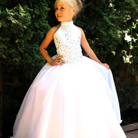 Pink and White Flower Girls Dress - Birthday Wedding Party Holiday Bridesmaid Pink and White Tulle Organza Dress