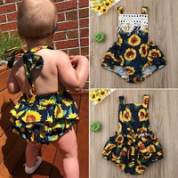 USA Kids Baby Girls Summer Clothes Sleeveless Floral Romper Bodysuit Jumpsuit