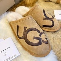 UGG new style embroidery big logo letter fashion home slippers shoes
