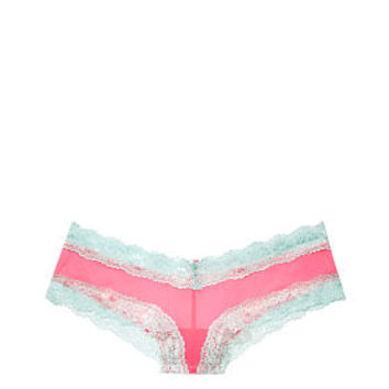 Lace Trim Mesh Cheekster Panty - PINK - Victoria's Secret