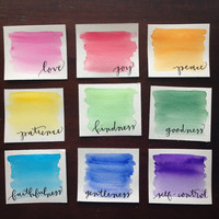 Hand Lettered Original Watercolor Scripture // Fruits of the Spirit Art // Bible Verse Painting