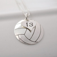 Hand-Stamped Volleyball Necklace with Heart Charm stamped with Number
