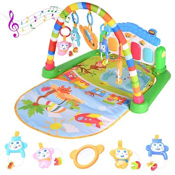 Baby Play Mat Activity Gym with Kick Piano Keyboard, Baby Jungle Gym Mat Designed with Colorful and Detachable Baby Toys in Activity Center for Tummy Time Boys and Girls Aged 0 to 12Months(Blue) Blue
