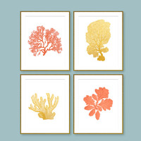 Coral Prints, Gold Foil Art, Beach House Art, Instant DOWNLOAD, Coral And Gold, Nautical Wall Art,  Sea, Modern, Ocean, 4 DIGITAL FILES,
