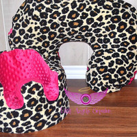 Pink and Leopard Bumbo Seat Cover and Boppy Pillow Cover Set