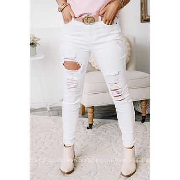 Can't You See Ankle Skinny Jeans | White