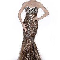 SEXYHER Gorgeous Strapless Animal Print Ball Gown Evening Dress - EDK12119