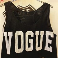 vogue print mesh baskball style cropped top tee t-shirt from mancphoebe