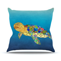 "Catherine Holcombe ""Bubbles"" Blue Turtle Throw Pillow"