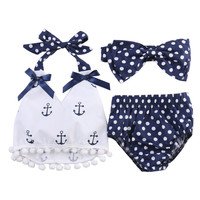Baby Girls summer 3pcs Clothes Set Baby girl Anchor bow Tassel halter Tops+Navy Polka Dot Briefs+headband Outfits