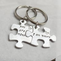 You are mine I am yours Keychain, puzzle piece Silver puzzle piece keychain bridesmaid puzzle keychain gift for couples Valentine's Day Gift