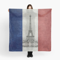 'Vintage national flag of France with Eiffel Tower insert' Scarf by Bruce Stanfield