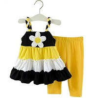 Girls clothes baby girl clothes set summer clothing kids sunflower dress + pants suit girls clothing sets
