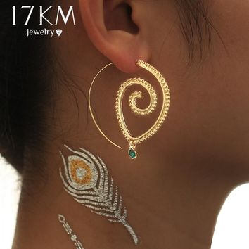 17KM Green Crystal Swirl Earring for Women Lover Fashion Steampunk Vintage Gold Sliver Color Flower Hoop Earrings Party Jewelry