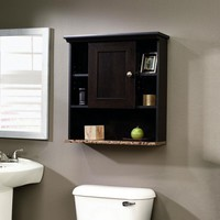 Bathroom Wall Cabinet with 3 Adjustable Shelves in Cherry Wood Finish