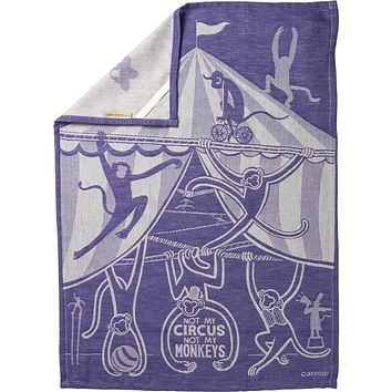 "Not My Circus Not My Monkeys Woven Purple Funny Snarky Dish Cloth Towel | Ultra Soft and Absorbent Jacquard | All-Over Design | Unfolds 20"" x 28"" 