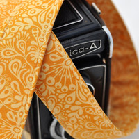 Photographer Gift - Camera Neck Strap dSLR / SLR - Goldenrod Paisley Floral - Yellow Camera Strap
