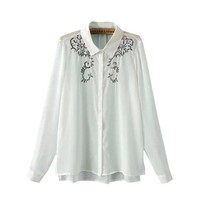 2016 Women Tops Fahion Lapel Long Sleeve Embroidered Blusas European Brand Spring Black White Fashion Blouse Free Shipping-in Blouses & Shirts from Women's Clothing & Accessories on Aliexpress.com | Alibaba Group
