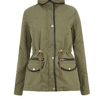 Teens Khaki Quilted Sleeve Removable Lining Parka