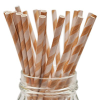 Queen and Co Stylish Stix: 25 Kraft Paper Straws with White Stripes (Food Crafts, Birthdays, ETC.) - Biodegradable