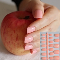 Fashion Lady Candy Fake Nails Tips False Nail Middle Round End Shiny Surface Shallow Inulin 199