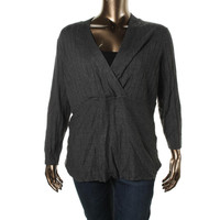 Style & Co. Womens Plus Knit Ribbed Trim Pullover Sweater