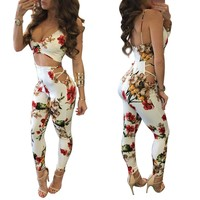 Print Spaghetti Straps Cut Out Long Jumpsuit