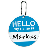 Markus Hello My Name Is Round ID Card Luggage Tag