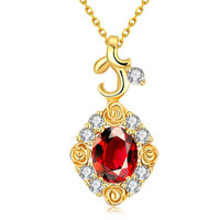 Gold Plated Snowflake Ruby Necklace