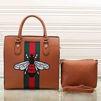 Gucci Women Bee Embroidery Leather Tote Handbag Satchel Crossbody Set Two-Piece