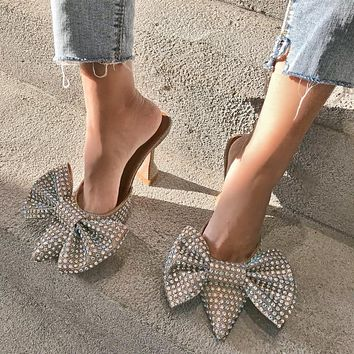 Europe and the United States Super Flash Bow Rhinestone Shiny Silver Glass with High Heel Women's Slippers