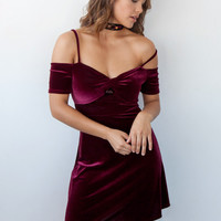 Off Shoulder Velvet Dress