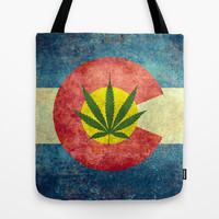 Retro Colorado State flag with the leaf - Marijuana leaf that is! Tote Bag by Bruce Stanfield