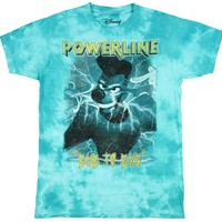 Goofy Shirt A Goofy Movie Men's Powerline Eye To Eye Metal Wash Tie Dye T-Shirt