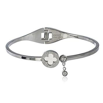 Stainless Steel Sandblast Clover Hinge Bangle Bracelet