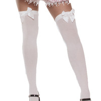 costume accessory: women's thigh hi stockings-white with bow plus size Case of 3